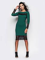 Женское платье по колено с кружевом и длинными рукавами 90265, фото 1