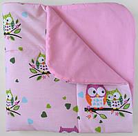 """Плед-одеяло """"Совушки"""" розовый 75*75 (демисезон)"""