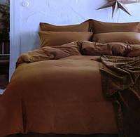 Комплект постельного белья евро сатин Prestij Textile коричневый