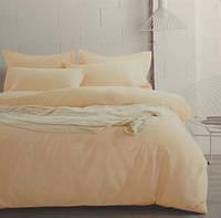 Комплект постельного белья евро сатин Prestij Textile кремовый