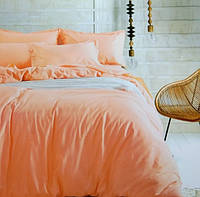 Комплект постельного белья евро сатин Prestij Textile персиковый