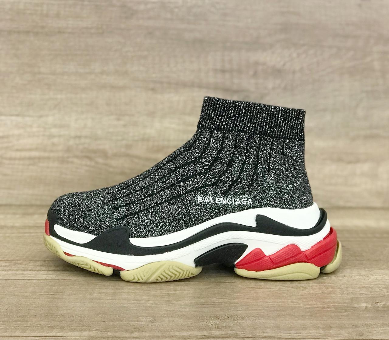 050ed821 Мужские кроссовки-носки Баленсиага с подошвой Трипл С, серый люрекс -  LUXBOOTS.COM
