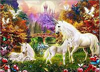 """Алмазная вышивка размер изображения 35х25 - набор """"Единороги в сказочном лесу 2"""""""