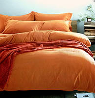 Комплект постельного белья евро сатин Prestij Textile оранжевый