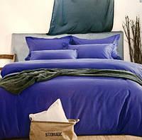 Комплект постельного белья евро сатин Prestij Textile синее