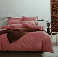 Комплект постельного белья евро сатин Prestij Textile темно-розовое
