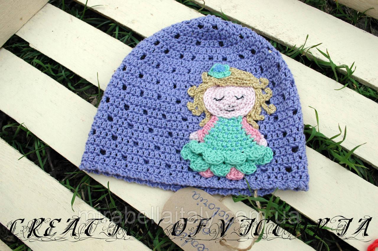 Вязаная шапка для девочки ручной работы