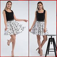 Черно-белая летняя юбка с рисунком