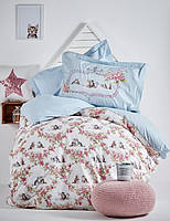 Детское постельное белье ранфорс Karaca Home Paise голубое подростковое