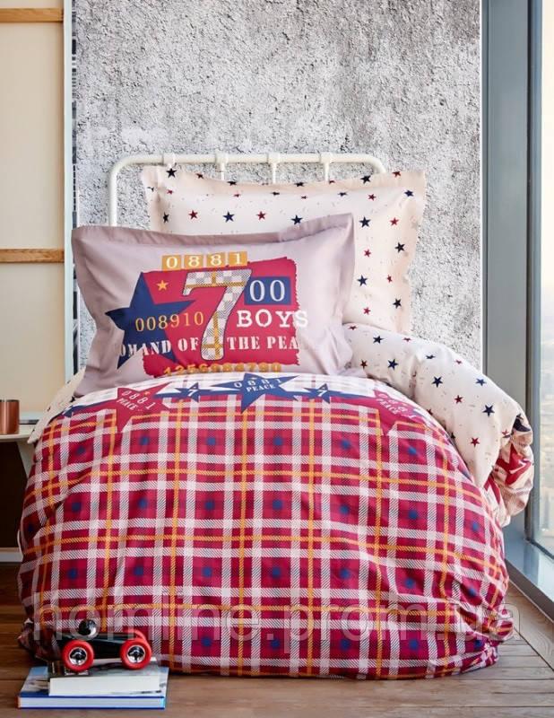 Детское постельное белье ранфорс Karaca Home Peace бордовое подростковое