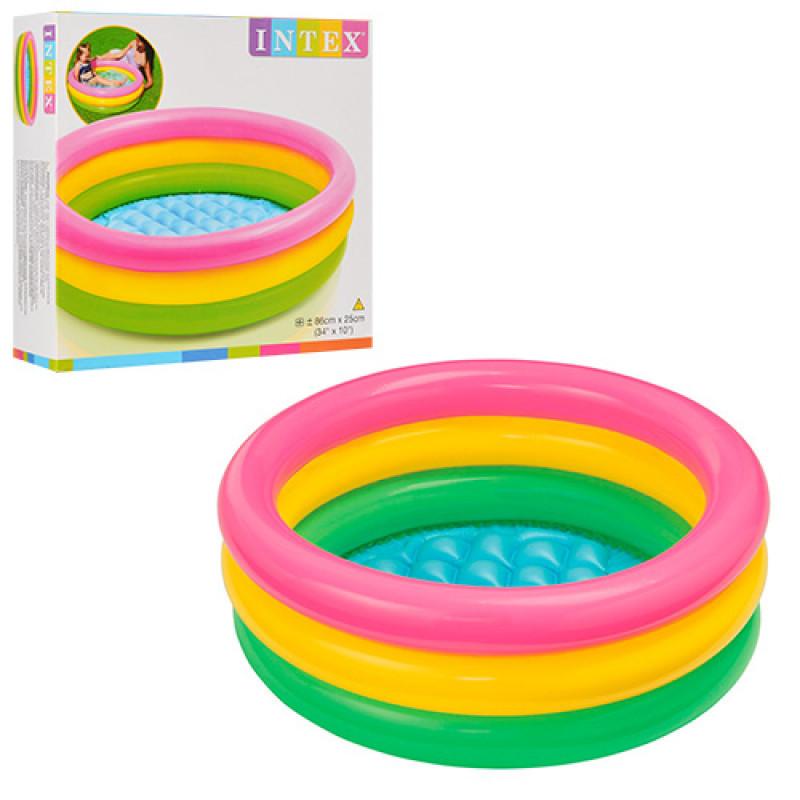Детский надувной бассейн intex 58924 Радуга маленький для детей , объём: 68л, вес: 0,55кг, от 1 до 3 лет