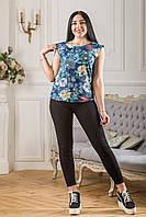 "Женская летняя блузка (блуза) с 3Д принтом ""Весна"" Zanna Brend синяя без рукавов"