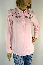 Жіноча  біла сорочка з стразами, фото 3