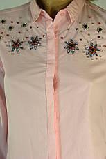 Жіноча  біла сорочка з стразами, фото 2