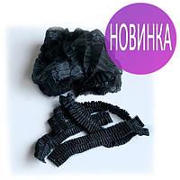 Шапочки одноразовые, шарлотка, 100 шт., на двойной резинке (черные)