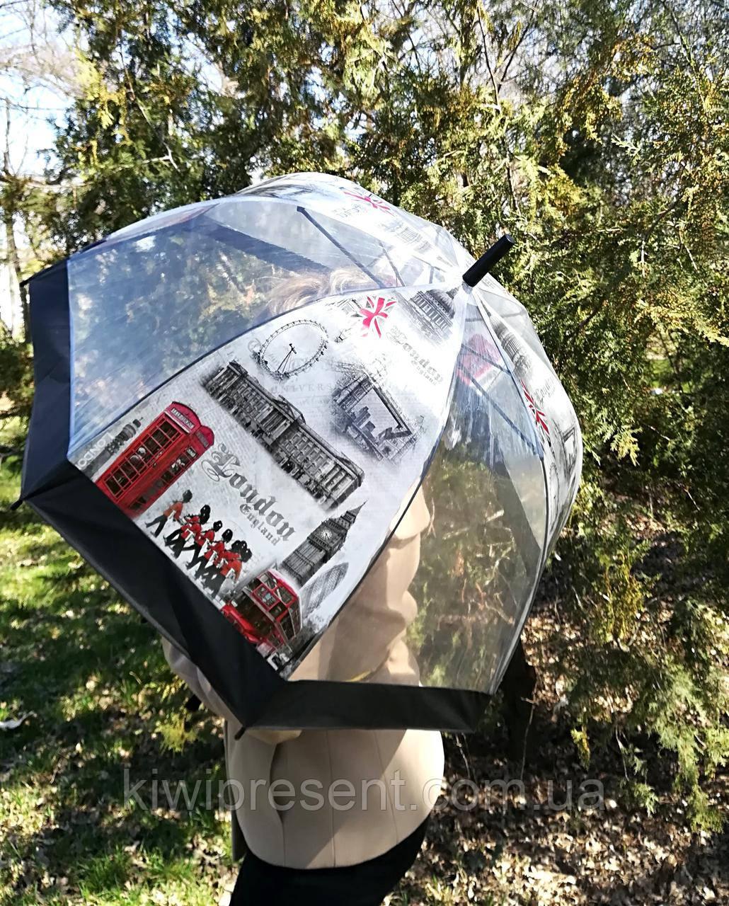 """Зонт-трость прозрачный с изображением """"Лондон"""""""