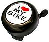 Велосипедный звонок Spelli I love my bike черный (под левую руку), фото 2