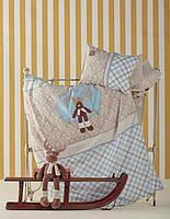 Детское постельное белье для младенцев Karaca Home ранфорс Deer голубое аппликация Коллекция 2017