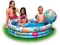 Детский надувной бассейн Intex 59469 «Аквариум»  с набороммячом и кругом, 132 х 28 см,круг-51см + мяч-51см