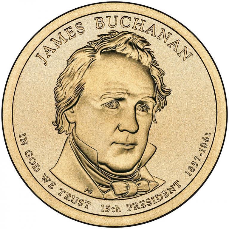 США 1 доллар 2010, 15 президент Джеймс Бьюкенен (1857-1861)