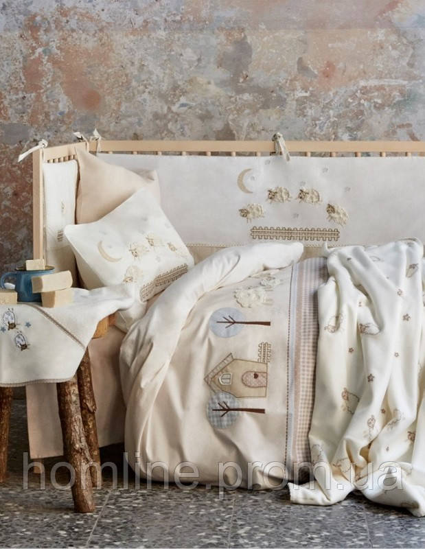 Дитяче постільна білизна для немовлят Karaca Home ранфорс Zuzu бежеве аплікація Колекція 2017