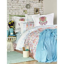 Набор постельное белье с пледом Karaca Home - Diandra 2018-2 turkuaz евро