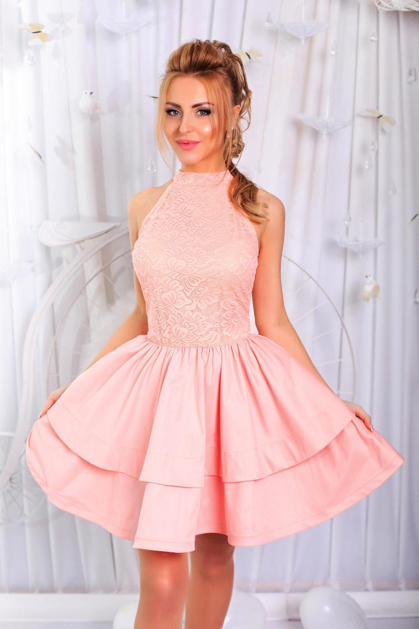 466ee917912 Платье с двойной юбкой и гипюром. Пудра