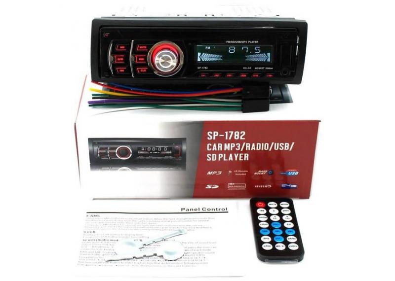 Автомагнитола Съемная панель SP-1782 USB, AUX, SD