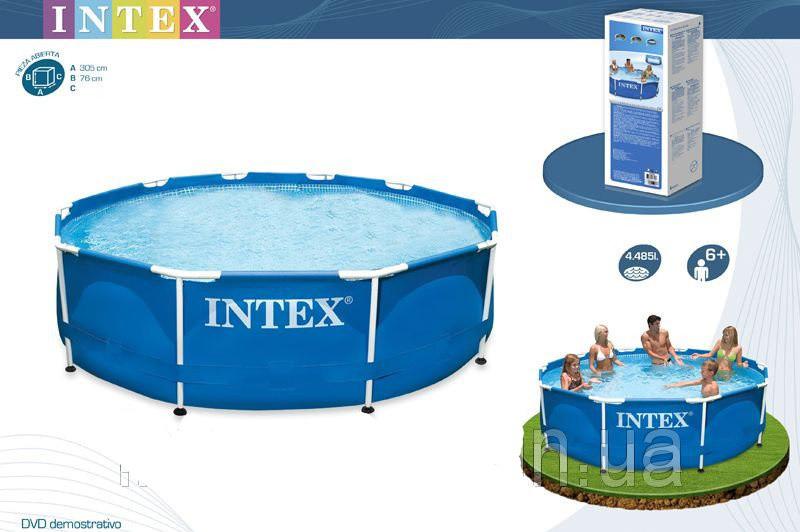 Басейн каркас INTEX 28200 круглий 305*76см (6+ років), 4485л (при заповненні на 90%), сумісний з садовим шлан