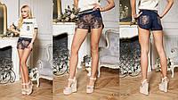 Стильные, женские, джинсовые шорты с кружевом.42-52р РАЗНЫЕ ЦВЕТА