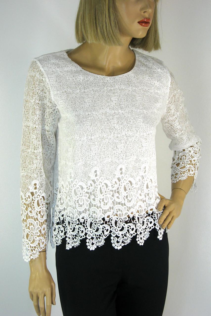 Нарядна біла блузка з мереживом Esay