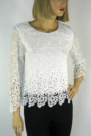 Нарядна біла блузка з мереживом Esay, фото 2