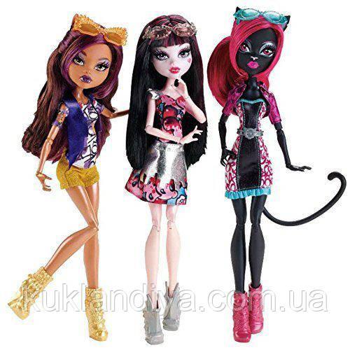 Набор Monster High Бу Йорк Кэтти Нуар, Клодин Вульф и Дракулаура
