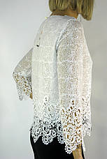 Нарядна біла блузка з мереживом Esay, фото 3