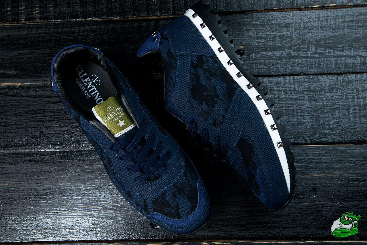 30540c1b620e Мужские кроссовки VALENTINO Валентино кроссовки-синие-  Текстиль,кожа,подошва полиуретан,Размер
