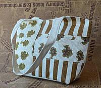 Стильная пляжная эко сумка с цветочным принтом  коричневая