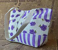 Стильная пляжная эко сумка с цветочным принтом  сиреневая