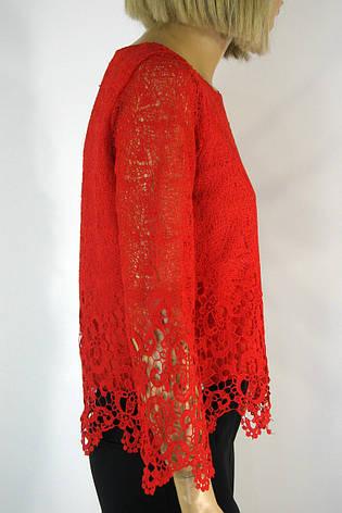 Нарядна червона блузка з мереживом Esay, фото 2