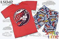 Костюм футболка и шорты детский р.98,104,116,128,134,140 SmileTime Street Racing, красный