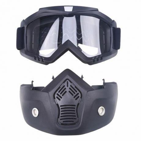 Мотоциклетная маска очки, лыжная маска, для катания на велосипеде или квадроцикле (прозрачная)