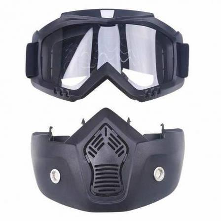 Мотоциклетная маска очки, лыжная маска, для катания на велосипеде или квадроцикле (прозрачная), фото 2