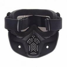 Мотоциклетная маска очки, лыжная маска, для катания на велосипеде или квадроцикле (прозрачная), фото 3