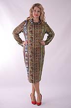 Платье трикотажное с восточным принтом удлиненное большие размеры Пл 164 Восток