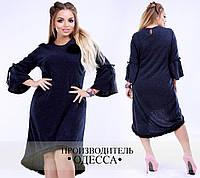 Платье осень-зима, удлиненное сзади, удобное для носки на каждый день, р.50,52,54,56,58,60 код 3984О