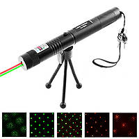 Фонарь-лазер зеленый + красный HJ-308, 4 режима, ЗУ 220V, ключ блокировки, ремешок на руку, штатив, комплект