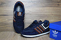 Кроссовки мужские Adidas NEO OD-1361 Материал замша. Синие с коричневым