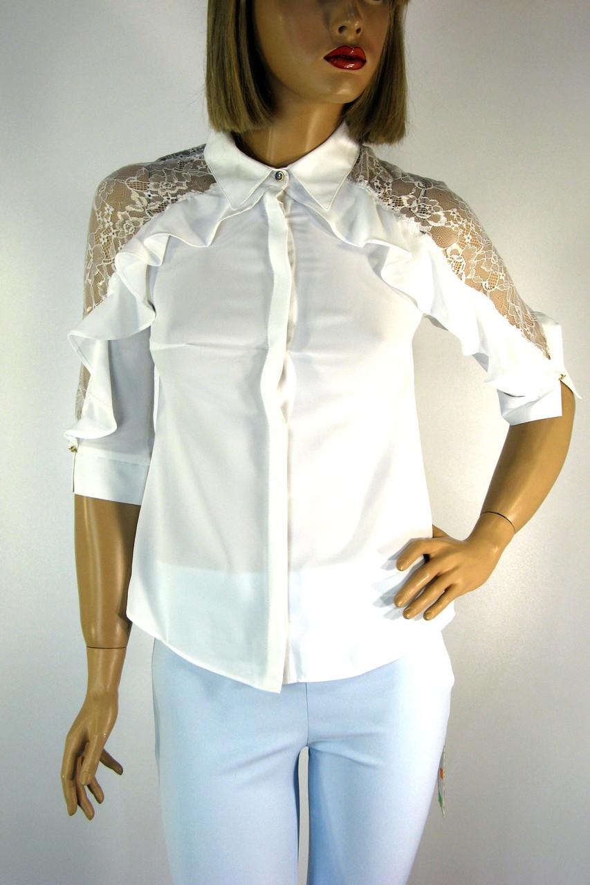 Біла нарядна  блузка з  мереживом