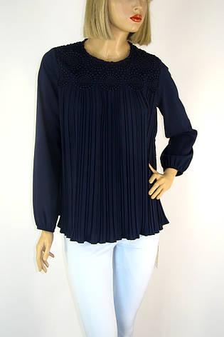 Нарядна темно синя блузка пліссе з мереживом , фото 2