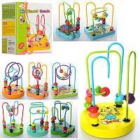 Проволочный лабиринт с рисунками мультяшных животных, деревянная игрушка с разноцветными фишками