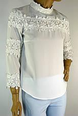 Нарядна біла шифонова блузка з мереживом , фото 2
